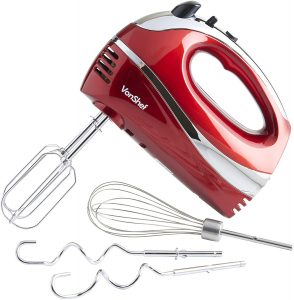 VonShef Electric Hand Mixer Whisk With Stainless Steel Attachments