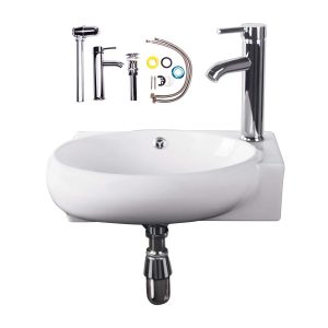 Bathroom Vessel Sink with Faucet and Drain White Overflow Stopper