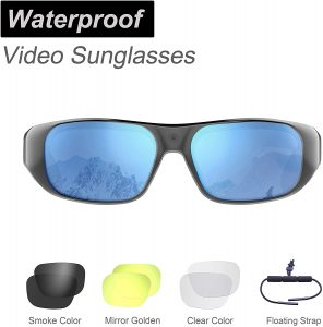 Waterproof Video Sunglasses,64GB Ultra 1080P HD Outdoor Sports Action Camera