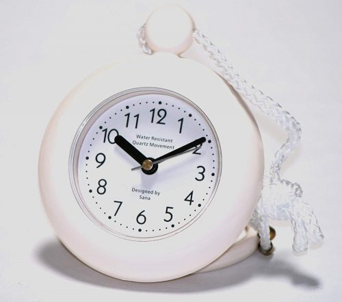 White Bathroom Shower Rope Clock with a Clear Easy to Read Clock face