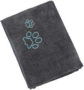 Dog & Cat Bath Towels with Embroidered Paw Print