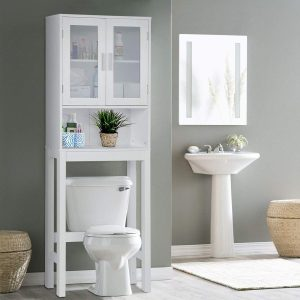 Wooden Over The Toilet Cabinet Storage