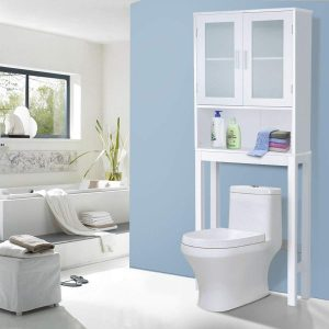 Wooden Storage Cabinet, Bathroom Over-The-Toilet Space Saver