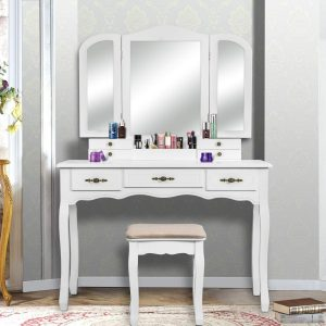 YOUKE Vanity Set, Tri-Folding Necklace Hooked Mirror, 7 Drawers, Makeup Dressing Table with Cushioned Stool