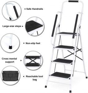 Portable Ladder Steel Frame with Safety Side Handrails