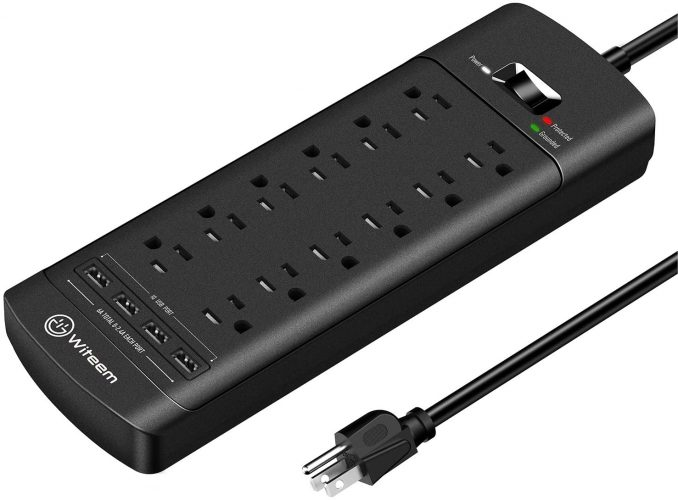 A Power Strip With 12-Outlet Plus 4 USB Ports And 6-Ft For An Extension Cord