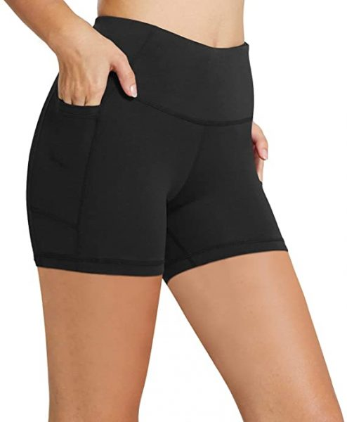 BALEAF Women's High Waist Workout Biker Yoga Running Compression Exercise Shorts Side Pockets
