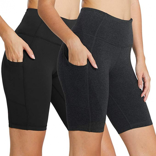High Waist Workout - Compression Exercise Shorts Side Pockets