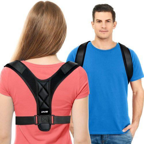 LEVIN Upgraded Lengthened Soft Sponge Pad Adjustable Upper Back Brace Posture Corrector