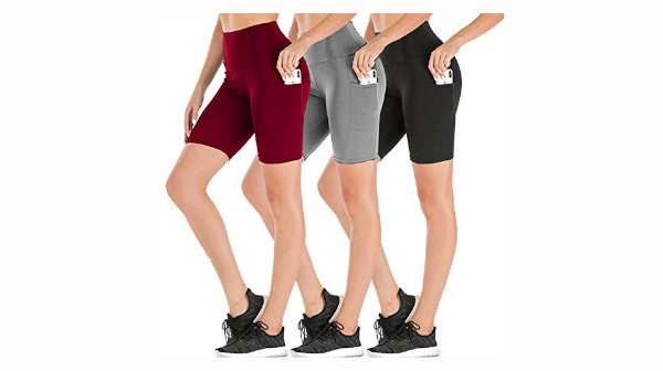 Dual Pocket High Waist Workout Shorts-Tummy Control Yoga Gym Running Pants,Non See-Through Soft Legging