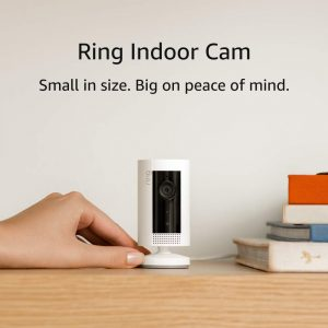 A White Compact Of Ring Smart Home Camera Indoor With 2-Way Talk