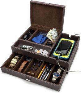 HOUNDSBAY Admiral Big Dresser Valet Box & Mens Jewelry Box Organizer