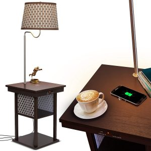 Brightech Madison - Wireless Charging Station & USB Port with Built-in LED Lamp
