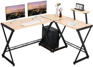 GreenForest L Shaped Wooden Computer Desk