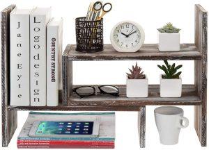 Wood Adjustable Desktop Bookcase Office Organizer