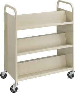 3 Shelves On Each Side For Double Book Carts