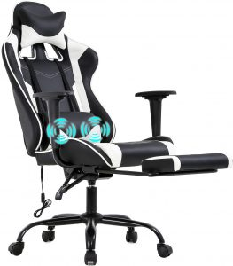 PC Gaming Chair For Office With Lumbar Support, Armrest, Footrest