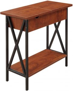 VASAGLE DAINTREE Convenience Concepts Tucson Flip Top End Table with Charging Station, Black / Cherry