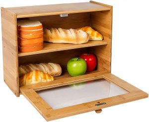Wooden Bread Box With 2 Layers
