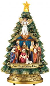 Musical Nativity Scene Colorful Christmas Mini Tree by Collections Etc