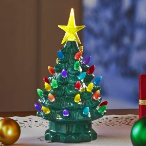 Old style Lighted Ceramic Tabletop Colorful Christmas Mini Tree by Lakeside Collection