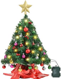 Amagoing Colorful Mini Christmas Tree with LED String Lights