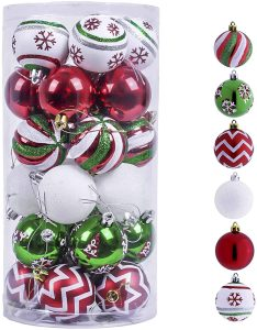 Red Green White Of Christmas Ball Ornaments For Christmas Decoration