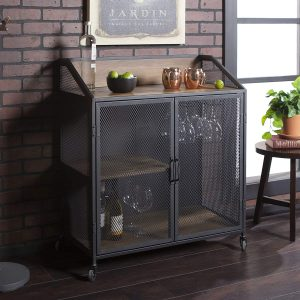 Walker Edison With Wood And Metal Wine Bar Stand