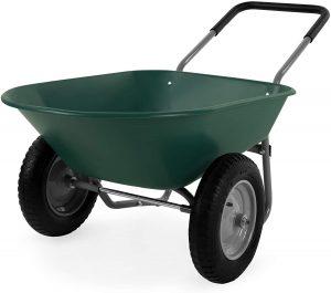 Dual Wheel Barrel For Garden With Green Construction