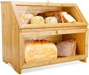 Wooden Bread Box For Kitchen Countertop With Double Layer