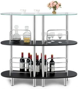 COSTWAY With 3 Tier Modern Bar Cabinet