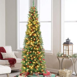 AerWo Prelit Pencil Christmas Tree