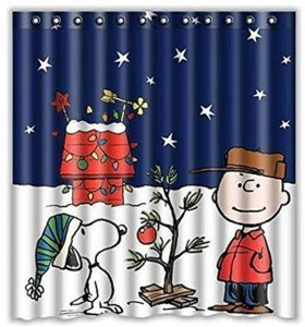 Charlie Brown & Snoopy Print Shower Curtain Ornament by PXH