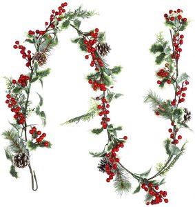 Coxeer Wonderful Christmas Berry Garland
