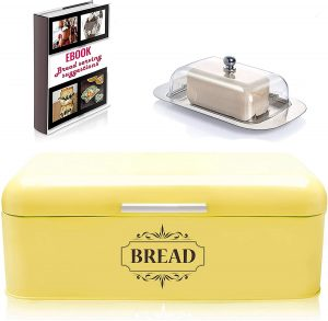 Stainless Steel Bread Box With Vintage Style