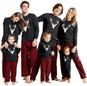 IFFEI White Deer Head Printed Family Christmas Pajamas