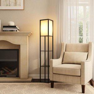 Floor Lamp lighting with Three Storage Shelves