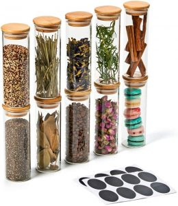 spices glass jars